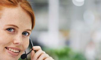 Customer service representative with headset