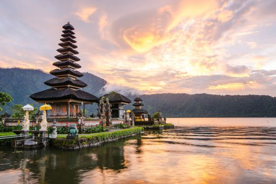 Pura Ulun Danu Bratan, Hindu temple on Bratan lake, Bali, Indonesia