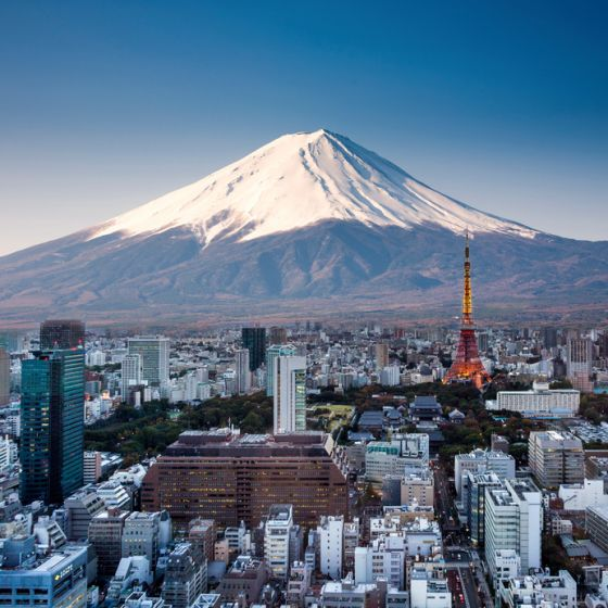 Tokyo top view sunset with Mount Fuji surreal photography. Japan