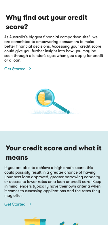 credit score mobile landing page